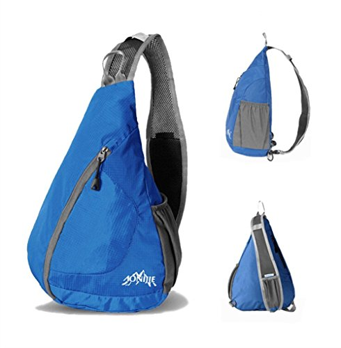 Packable Sling Backpack, GOLDSTAR Lightweight Shoulder Backpack Sling Chest Crossbody Bag Pack Daypack for Men Women Outdoor Sports, Cycling, Hiking, Camping, School, Travel (Blue)