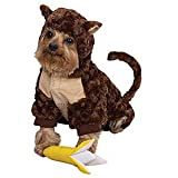 Zack &amp; Zoey Plush Curious Monkey Halloween Dog Costume with Poseable Tail &amp; FREE Banana Squeak Toy X-Small