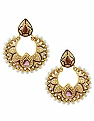 The Art Jewellery Rajwadi Purple Color Chand Shaped Dangle&Drop Earrings For Women