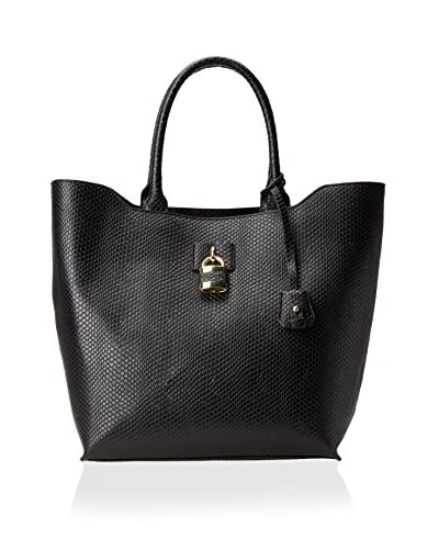 London Fog Women's Lawrence Tote, Black Snake