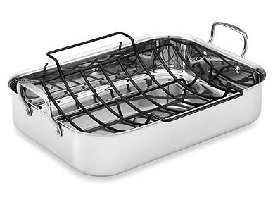 Tri-Ply Clad Stainless Steel 17-Inch x 12.5-Inch Rectangular Roaster with Nonstick Rack