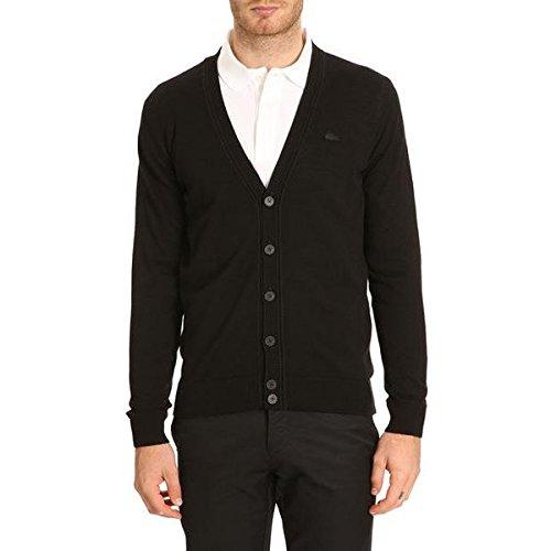 (ラコステ) LACOSTE メンズ アウター カーディガン AH2996 Lambswool Black Cardigan with Tone-on-Tone Crocodile Logo 並行輸入品