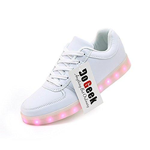 DoGeek-Unisex-Hombres-Mujeres-7-Color-USB-Carga-LED-Luz-Glow-Luminosos-Light-Up-Flashing-Sneakers-Zapatos