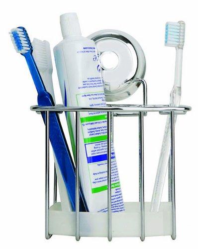 Croydex Twist 'N' Lock Toothbrush Holder, Chrome