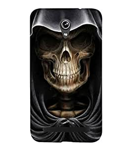 Skull with Hoodie 3D Hard Polycarbonate Designer Back Case Cover for Asus Zenfone Go ZC500TG (5 Inches)