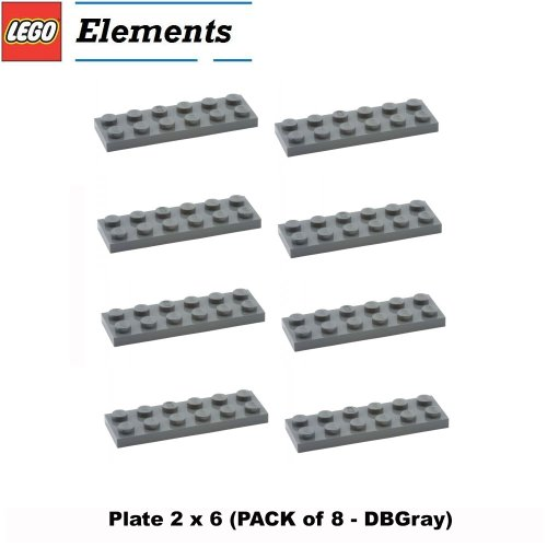 Lego Parts: Plate 2 x 6 (PACK of 8 - DBGray) (Sponge Bob Camper Van compare prices)