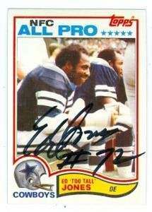 Ed Too Tall Jones autographed football card (Dallas Cowboys) 1982 Topps #318 at Amazon.com