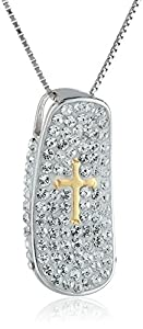 """Sterling Silver Two-Tone Rhodium and Yellow Gold Plated Cross and Crystal Chain Pendant Necklace, 18"""""""