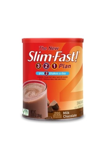 Slim-Fast 3-2-1 Plan, Shake Mix, Milk Chocolate, 12.83- Ounce Canister (Pack of 3)