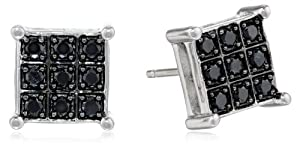 Sterling Silver and Black Diamond (1/3 cttw) Square Earrings