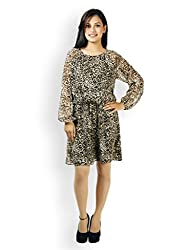 VAAK Women's Fullsleeve Animal print Dress 100% Polyester Brown (XXS)