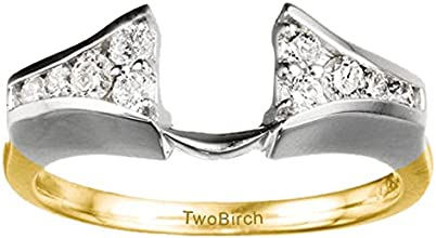 14k Gold Chevron Style Ring Wrap with Charles Colvard Created Moissanite 033 ct twt