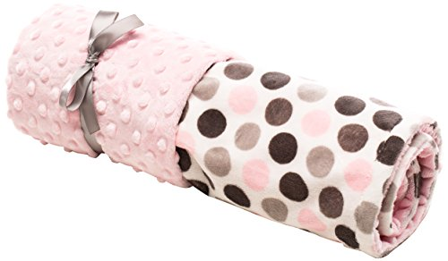 "Elonka Nichole Baby Girl Jumbo Dot Original Mimi Receiving Blanket, Pink/Grey, 35"" X 29"""