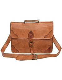 Pranjals House Genuine Browm Leather Laptop And Messenger Bag For Boys/Girls