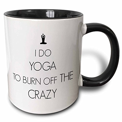 3dRose I Do Yoga To Burn off The Crazy Two Tone Black Mug, 11 oz, Black/White (Yoga Pictures compare prices)