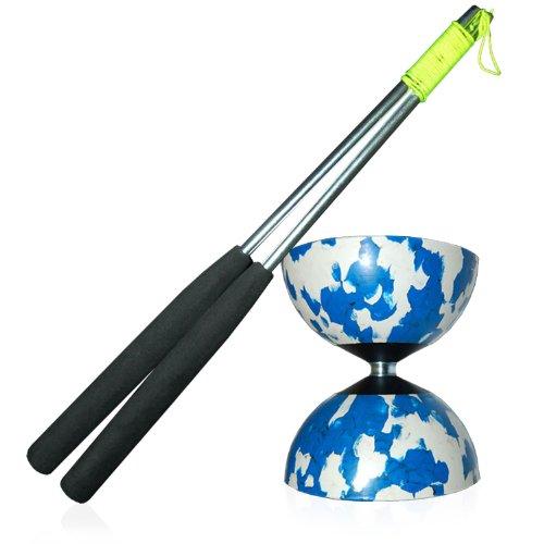 Mr Babache Diabolo Arlecchino taglia mezzo (blu/bianco) con Firetoys stecche alluminio