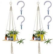 "Supla 2 Pcs Wood Hanging Swing Rope Floating Shelves Macrame Shelf Hanging Planter Hanging Wooden Shelves for Plants for wall 45"" Long and 2 Pcs Ceiling Screw Hooks Cup Hook Holder"