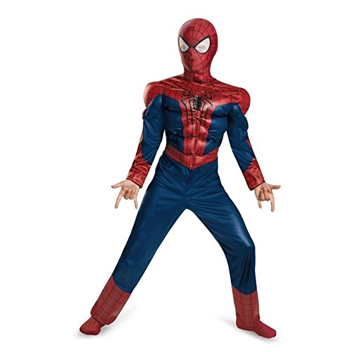 [Halloween AMAZING SPIDERMAN 2 Disguise MUSCLE Child Costume Large 10-12 Mask NEW] (The Amazing Spider Man 2 2016 Costume)