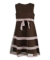 Herberto Girls Party and Evening Dress (HRBT-DRESS008-1_Brown_3 - 4 years)