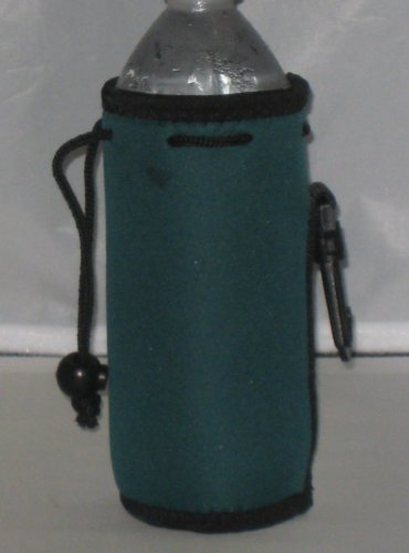 Water Bottle Koozie 2 Pack With Drawstring & Clip, Dark Green front-686213