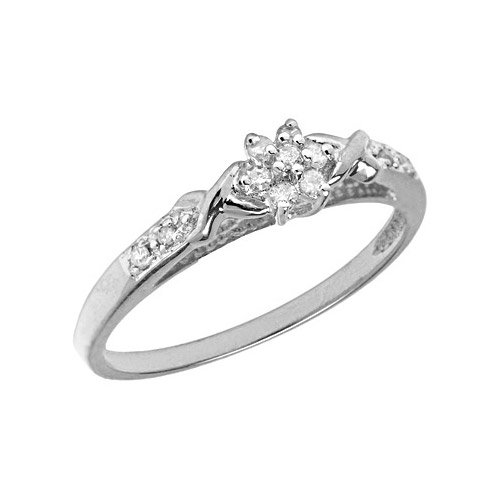 10K White Gold Diamond Cluster Ring (Size 11)