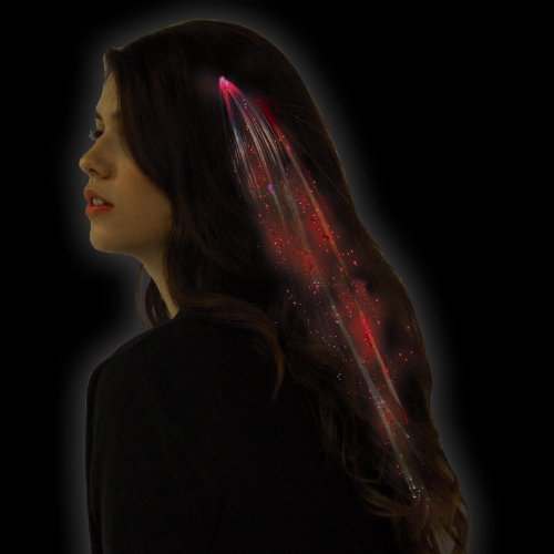 Coffled® Led Hair Extensions Clip Girls Stocking Filler Festival Fancy Dress Wig Party Decor (Red)