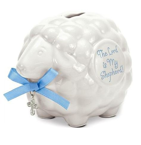 Ceramic Baby Lamb Bank with Cross and Blue Ribbon-The Lord Is My Shepherd by Brownlow Gifts