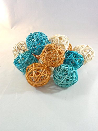 Decorative Spheres Aqua Orange And Cream Rattan Ball Vase Filler Ornament Decoration Bowl Filler By Wreaths For Door