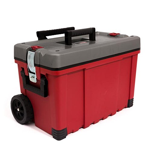 Keter-Werkzeugkasten-25-Hawk-Karre-rot-grau-Werkzeugkoffer-Trolley-Rollen