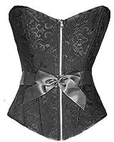 Bslingerie Womens Boned Corset Zipper Black Brocade Top