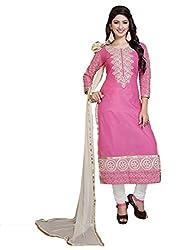 Blissta Women's Cotton Dress Material(MDMST08_Pink)