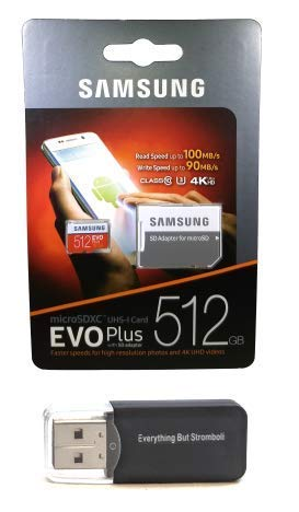 512GB Micro SDXC EVO Plus Bundle Works with Samsung Galaxy S10, S10+, S10e Phone (MB-MC512) Plus Everything But Stromboli (TM) Card Reader
