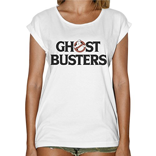 T-Shirt Donna Fashion Scritta Ghost Buster Acchiappa Fantasmi - Bianco