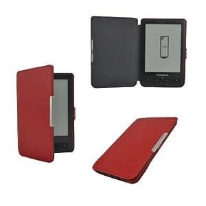 Premium ultra mince étui en cuir housse coque fermeture magnétique pour PocketBook Touch Lux 623 et PocketBook Touch 622 - Couleur Rouge