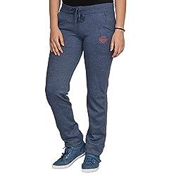 Ladies Cotton Lycra Blue Track Pants