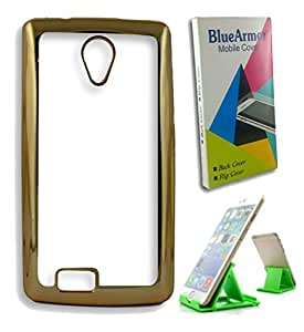 BlueArmor Gold Bordered Soft Silicone Back Cover Case For Reliance Jio Lyf Flame 7 - Transparent & Mobile Stand