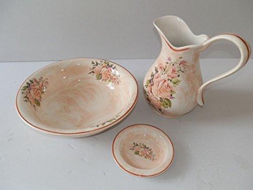 Set toilette in ceramica per lavabo bagno antico rosa rose for Piastrelle bagno rosa antico