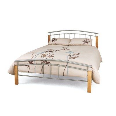 Tetras Bed Frame in Silver and Beech Size: King