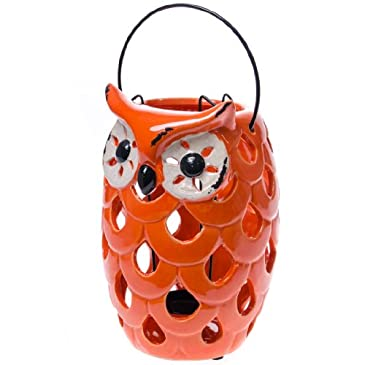 Orange Owl Ceramic Lantern