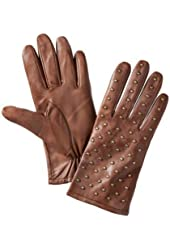 Merona Womens Brown Leather Gloves with Metal Stud Fronts
