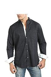 Faceman Men's Cotton Slim Fit Casual Shirt (A1002_Steelgrey_M)