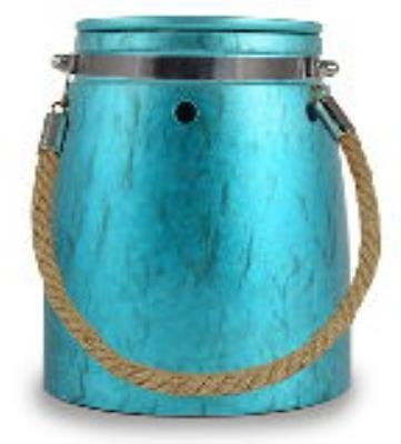 Turqoise Metallic Jar with Rope Handle Design Ceramic Stoneware Electric Wax and Oil Warmer (Electric Stone Oil Burner compare prices)