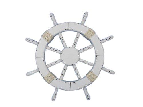 "Handcrafted Nautical Decor Rustic White Ship Wheel, 18"""