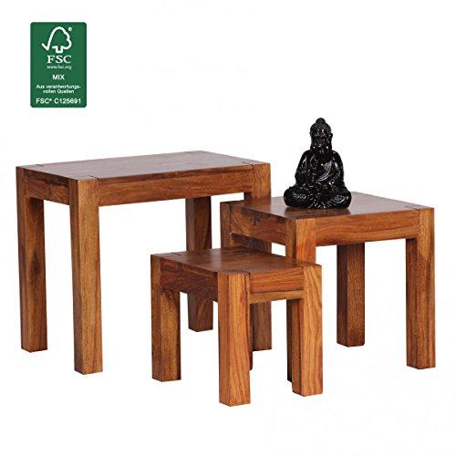 FineBuy-3er-Set-Satztisch-Massivholz-Sheesham-Wohnzimmer-Tisch-Landhaus-Stil-Beistelltisch-dunkel-braun-Naturholz-Couchtisch-Natur-Produkt-Wohnzimmermbel-Unikat-Massivholzmbel-Echtholz-Anstelltisch