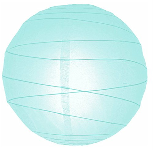 "WeGlow International 14"" Artic Blue Free-Style Ribbed Paper Lantern (Set of 2)"