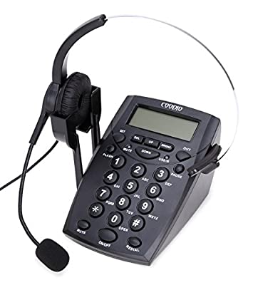 Coodio® Call Center Telephone with Headset and Recording Cable and Tone Dial Key Pad / Redial by Coodio