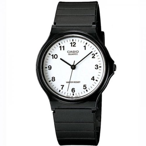 Casio MQ24 7B Unisex Quartz Watch with White Dial Analogue Display and Black Resin Strap