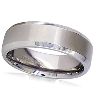 7mm Beveled Edge Plain Comfort Fit Titanium Wedding Band ( Available Ring Sizes 7-12 1/2)
