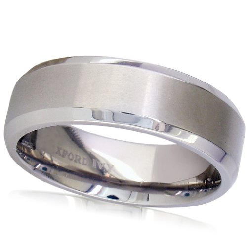 7mm Beveled Edge Comfort Fit Titanium Plain Wedding Band ( Available Ring Sizes 7-12 1/2) SZ8