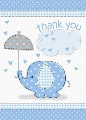 Umbrella Elephant Boy Baby Shower Thank You Notes w/ Envelopes (8ct) - 1